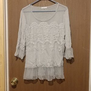 Maurices gray lace blouse